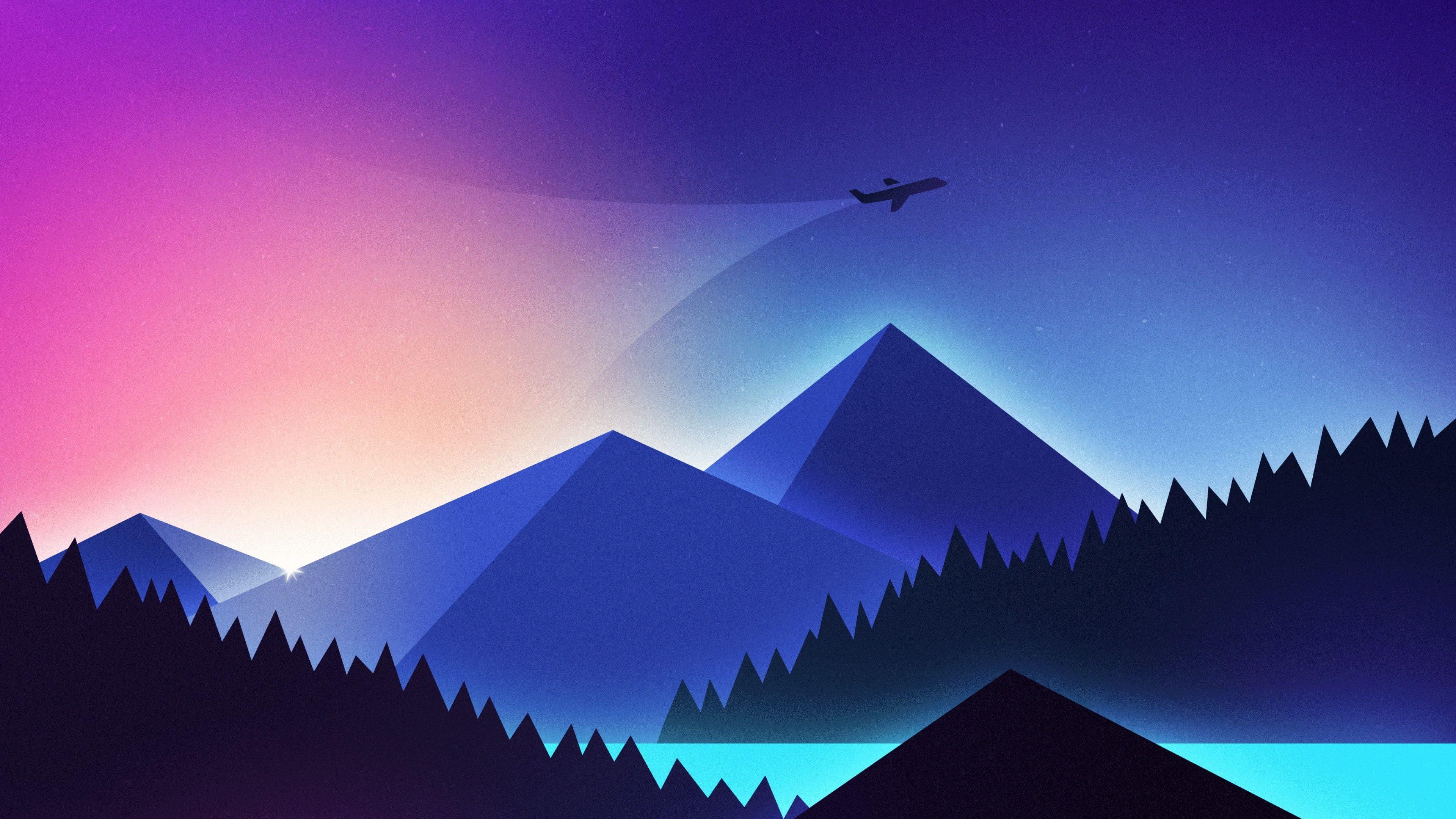 Minimalism Minimal Art Minimalist Airplane Minimal Pyramid Mountain Flying Digital Art Mountain Min Minimalist Wallpaper Colorful Landscape Art Wallpaper