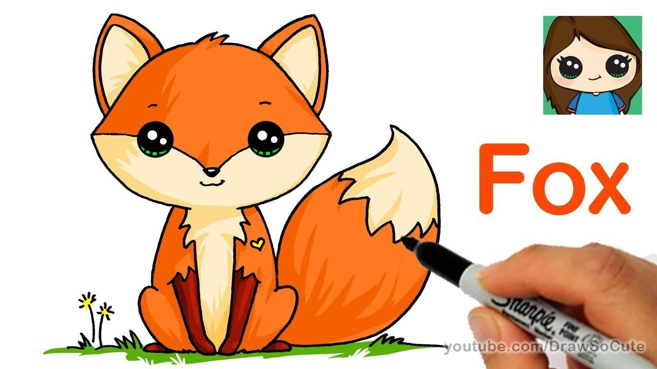How To Draw A Cute Fox Easy With Images Cute Fox Drawing