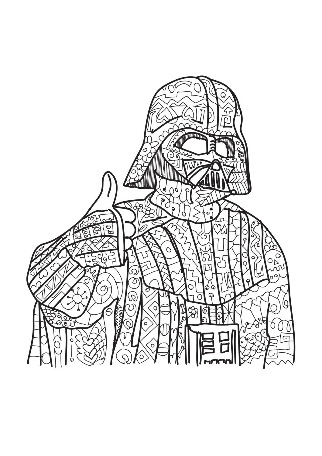 Darth Vader. Star Wars coloring page. Adult coloring. Zentangle ...