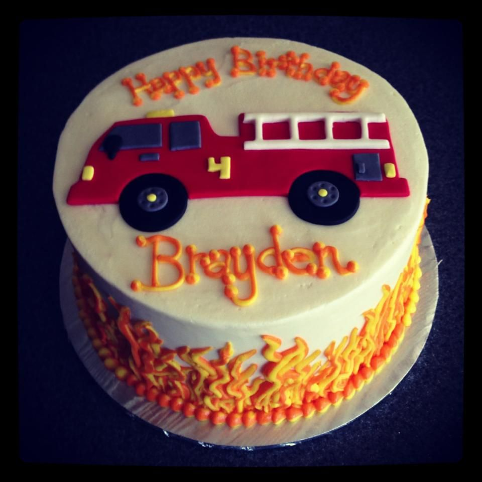 Fire Truck Birthday Cake With Buttercream Flames By Sweeten Up Bake Shop. Austin, Cedar Park