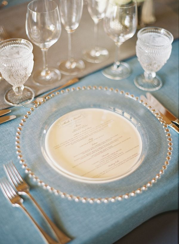 clear beaded charger with circle inset menu charger plates can make or break a decorated table - Beaded Inset Hotel Decoration