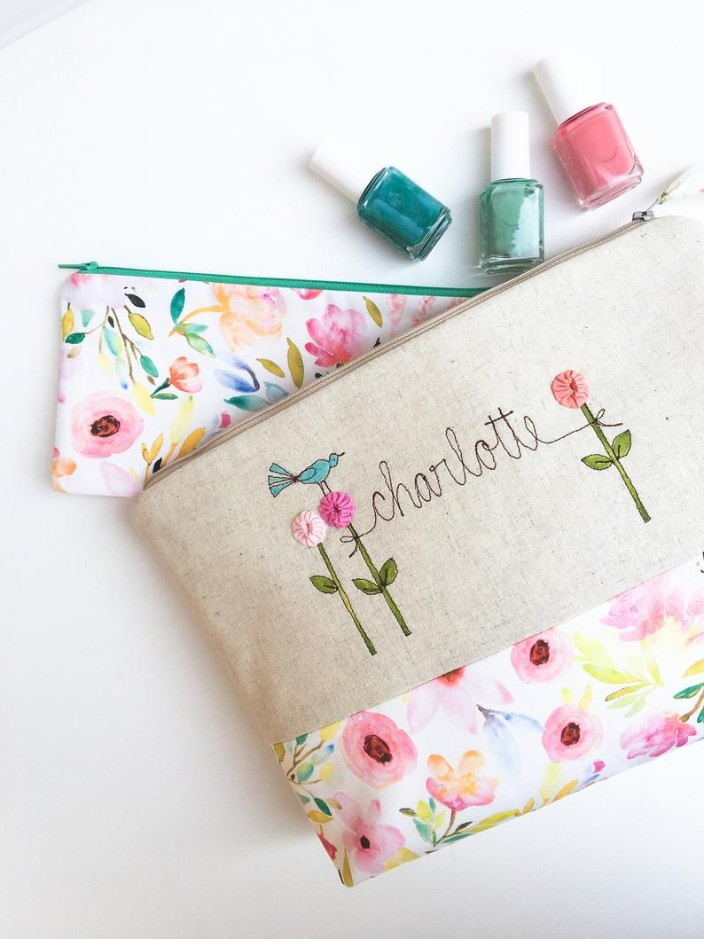 Floral cosmetic bag baby shower hostess thank you gift
