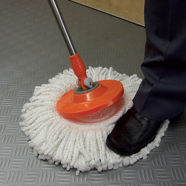 No more hassle of wringing out old fashioned mops. Or damp smelly mops that can cause unpleasant odours and be a breeding ground for nasty germs. The 2-in-1 Rinse & Spin-Dry System uses a built-in bucket spinner for rinsing the mop, and a spinning basket to spin the 360 degrees rotating mop-head dry in seconds.