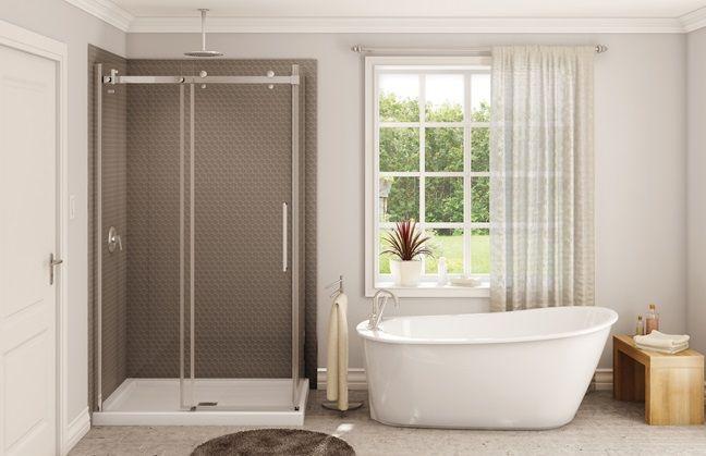 Bain maax sax et base de douche porte et panneau halo for Panneau fibre de verre salle de bain