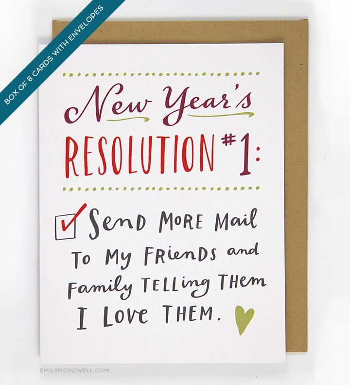 New Year S Resolution 1 Card Box Of 8 Happy New Year Cards New Year Card New Years Resolution