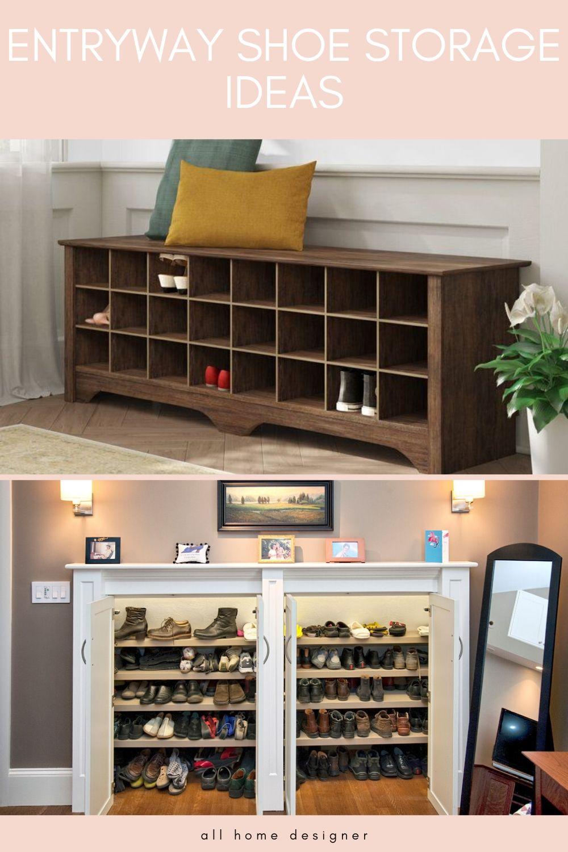 Entryway Shoe Storage Ideas #entrywaydecor #entrywayideas