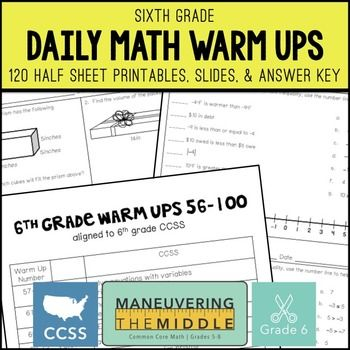 6th Grade Math Warm Ups (CCSS-Aligned Math Bell Ringers
