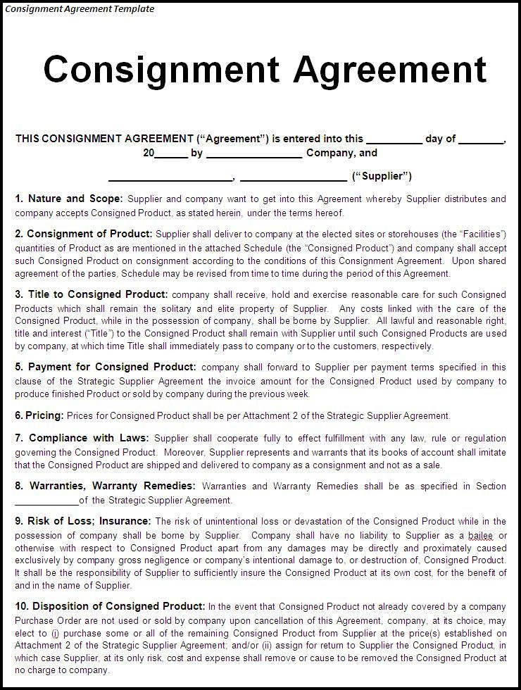 Consignment Agreement Template Free Template Pinterest