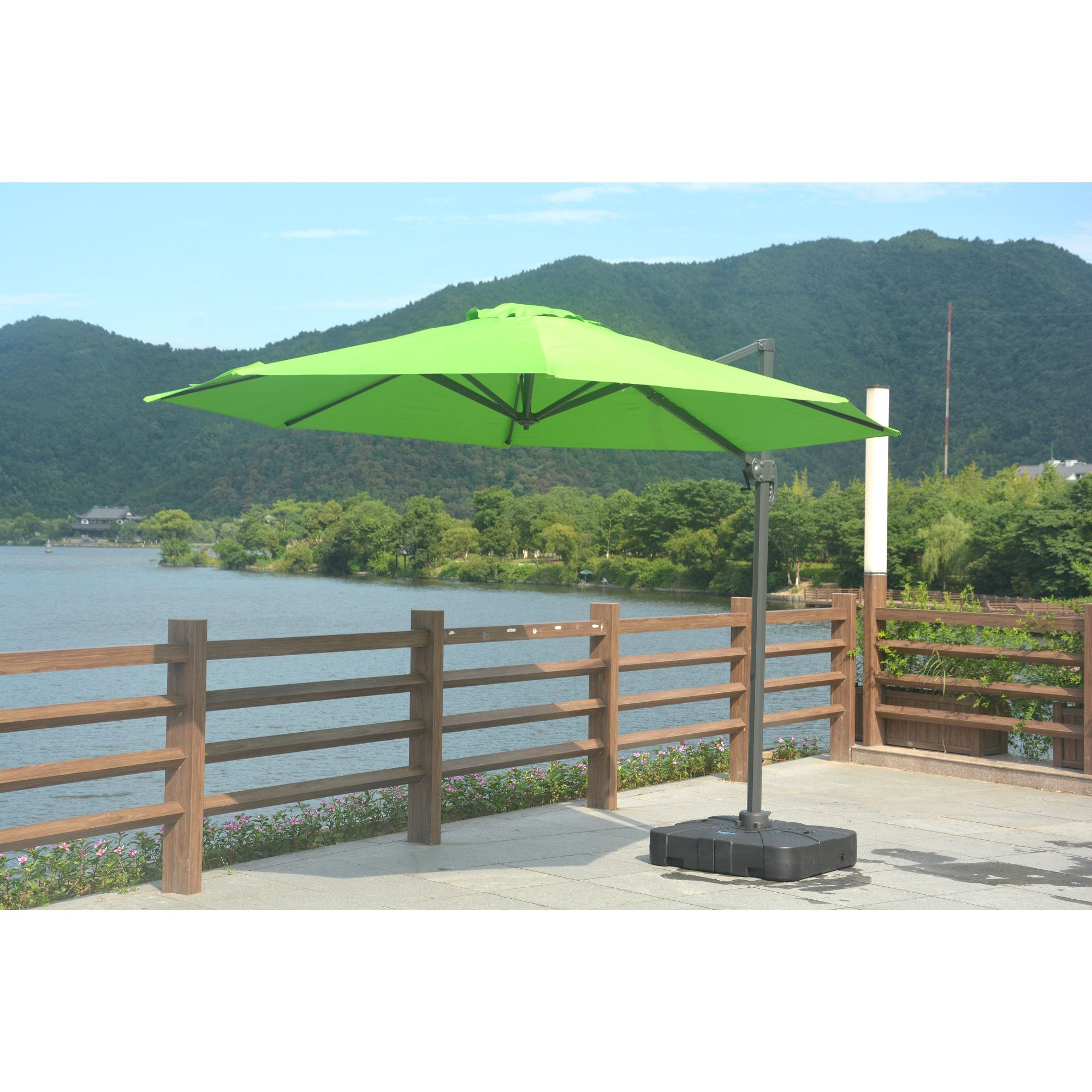 umbrella patio world and with cantilever weight of offset market base navy