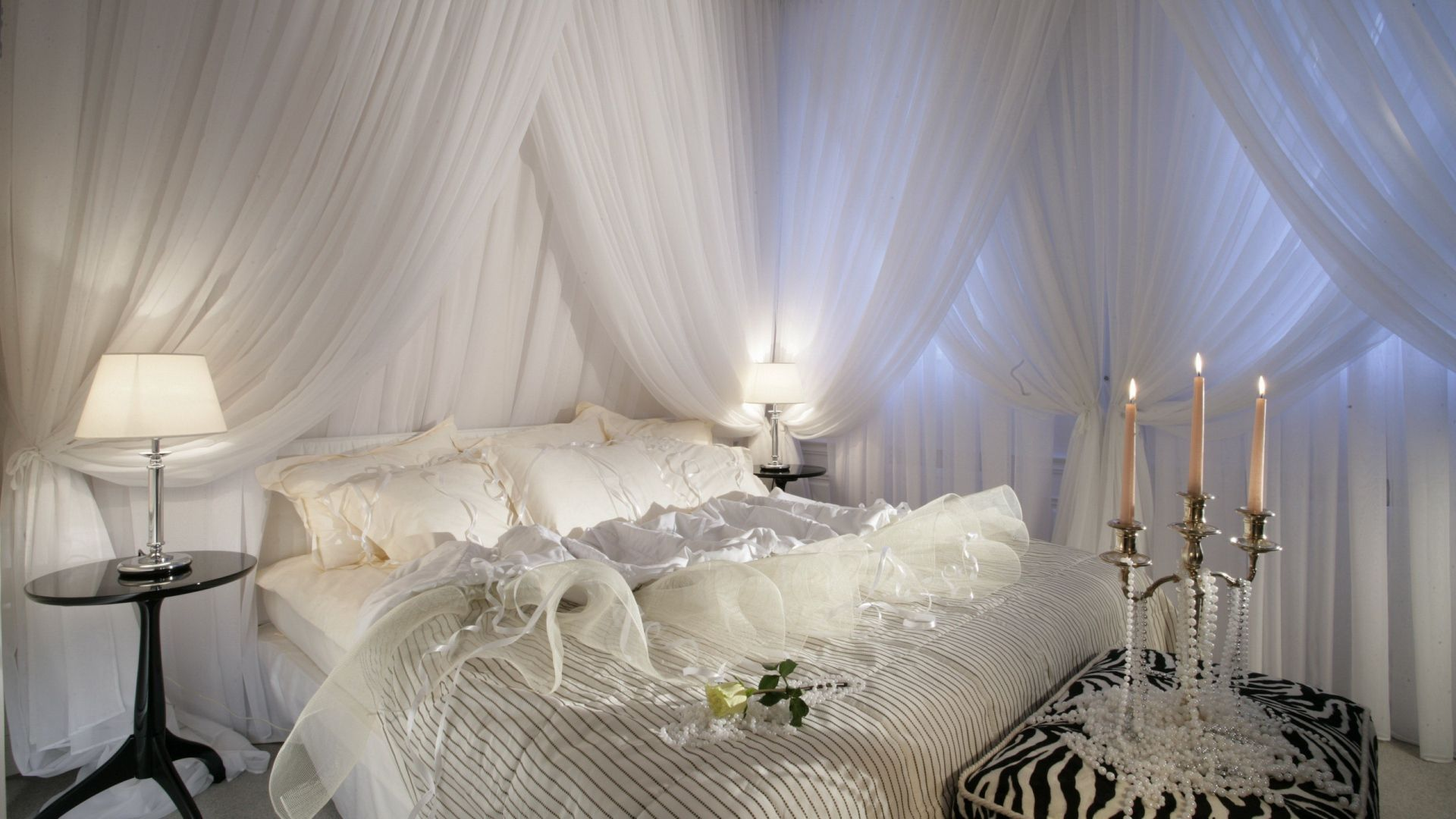 Bedroom, Bed, White Candles  Httpwwwwallpapers4Uorg