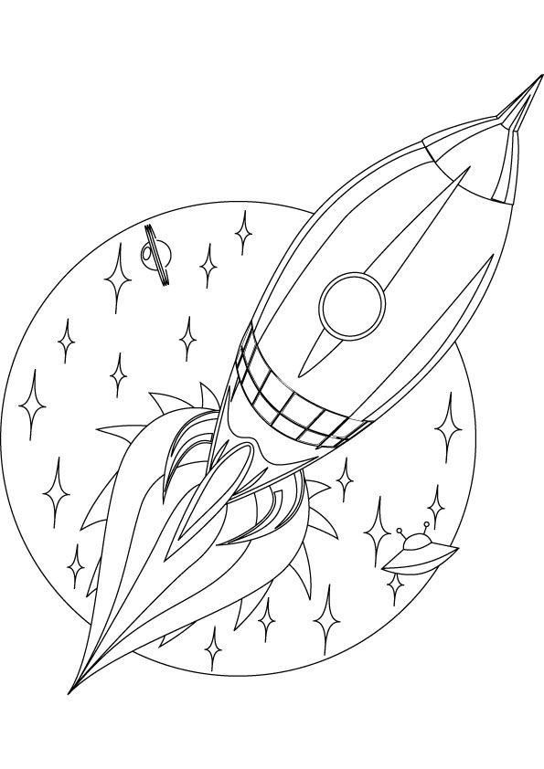 R is for rocket! [coloring page] | Kids space + rocket craft ideas + ...