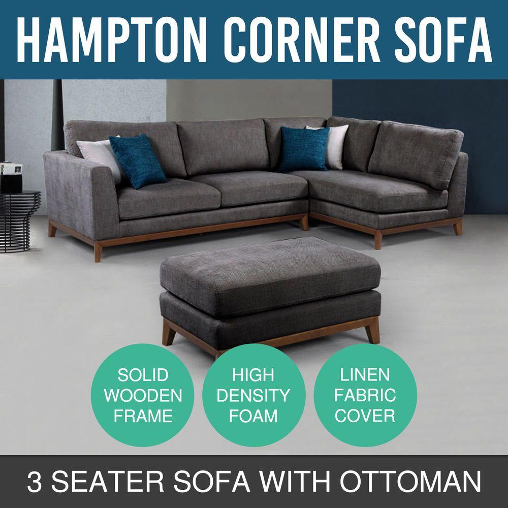Modern Stylish Corner 3 Sofa Seater High Density Foam Grey With Ottoman  Hampton
