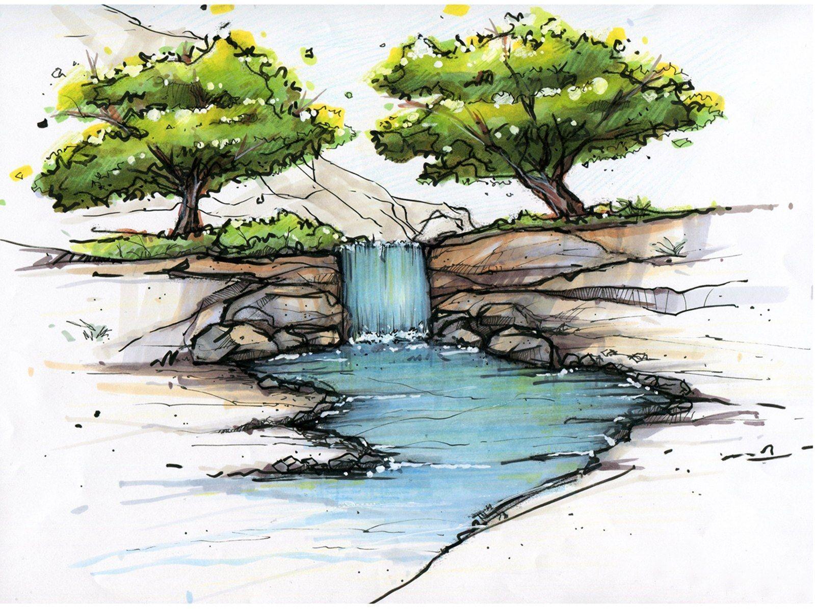 галочки рисунок с деревом и водой ступеням