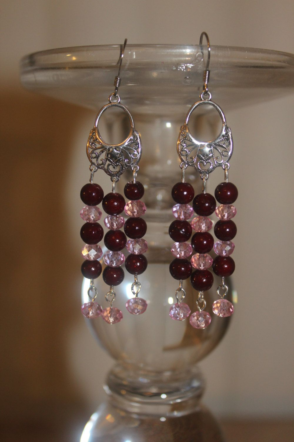 Exotic eastern style chandelier earrings boho gypsy style exotic eastern style chandelier earrings boho gypsy style chandelier silver filigree earrings burgundy and pink chandelier earrings arubaitofo Choice Image