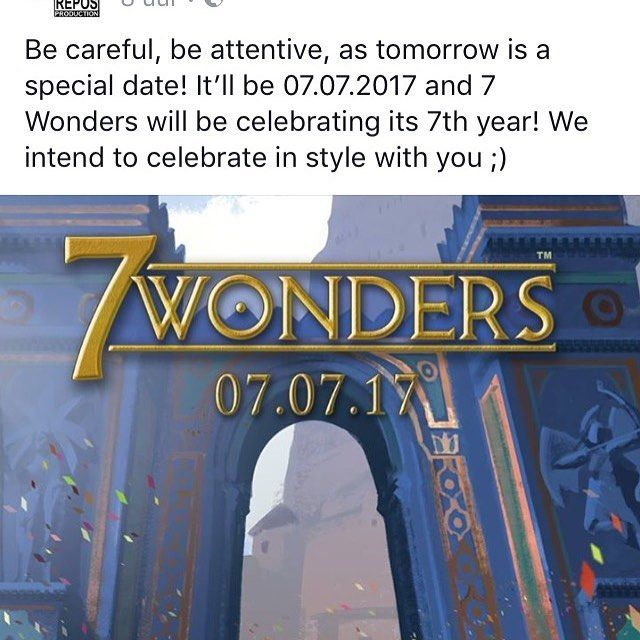 So what will the 7th anniversary of 7 Wonders bring tomorrow? The long awaited tablet version of the game? We'll find out tomorrow! #tabletop #boardgames #brettspiel  #jeuxdesociete #juegosdemesa #boardgamegeek #bgg @reposproduction http://ift.tt/2fTbvY1