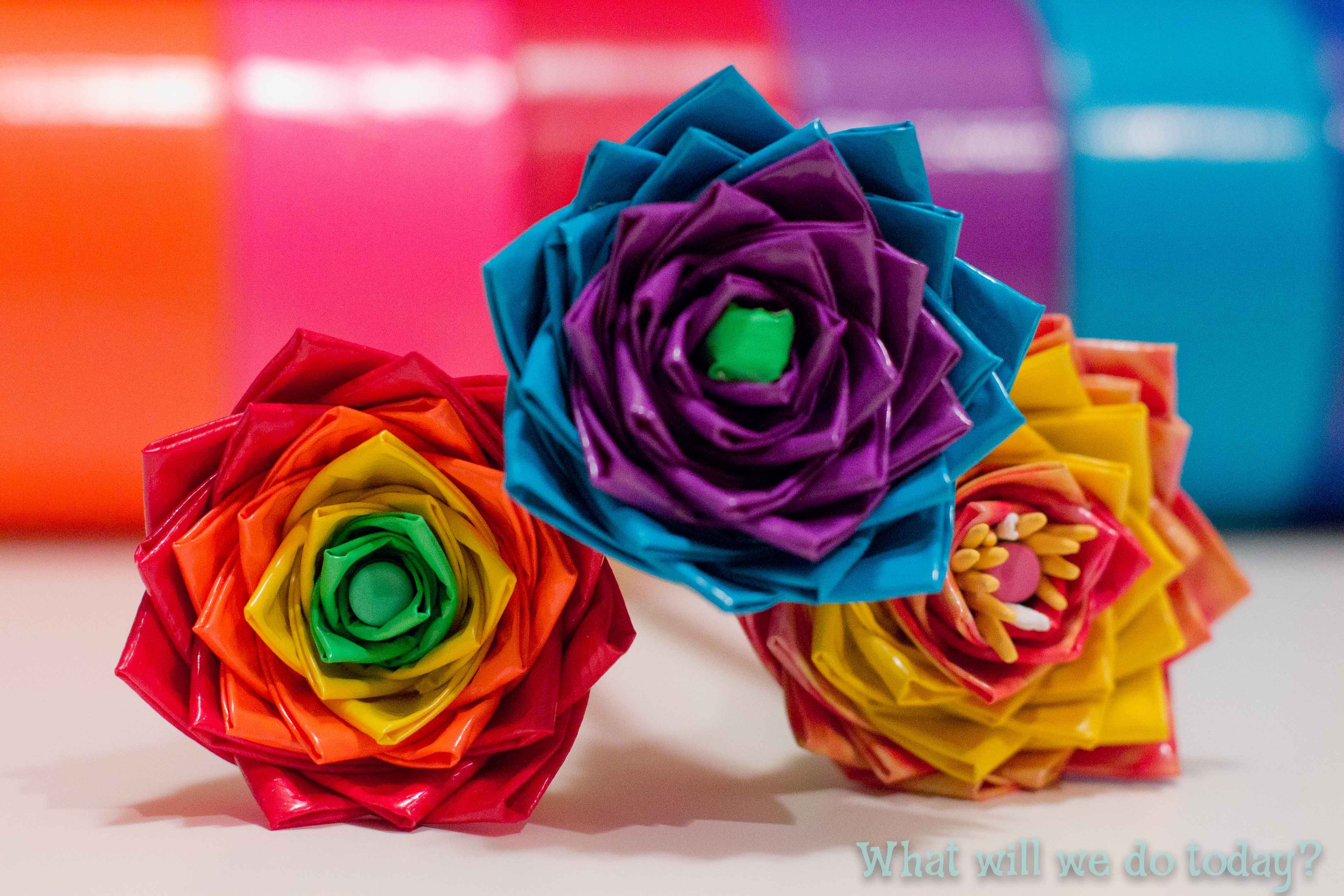 Duct Tape Flowers - finished flowers