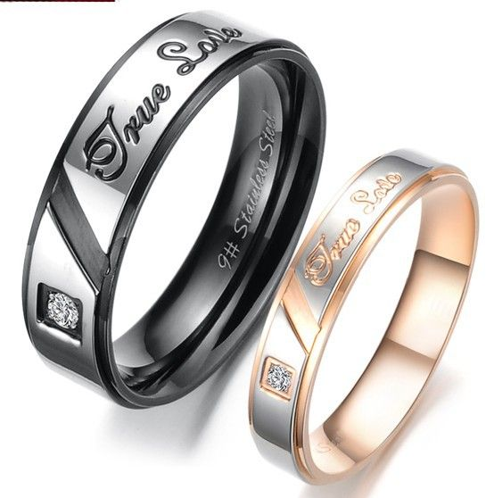 Korean fashion true love gold crystal drill couple rings 316L stainless steel wedding rings his and her engagement rings US $4.50