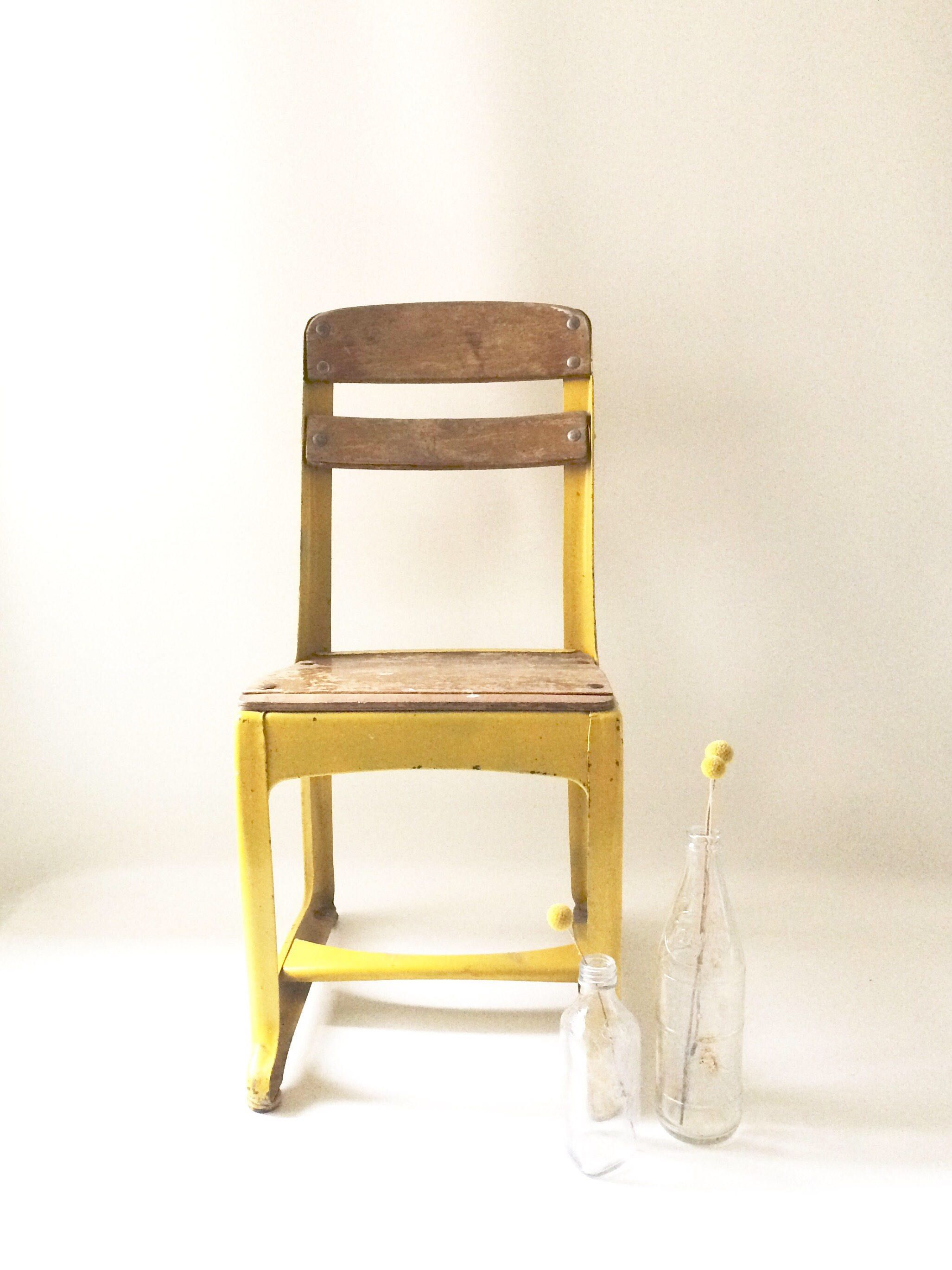 Vintage Children's Yellow Chair by TheWaffleCone on Etsy