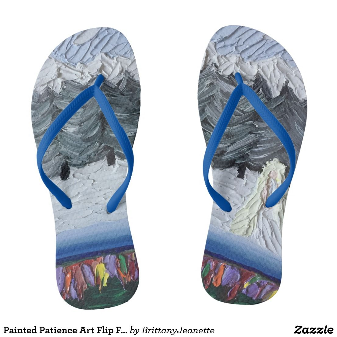 611b10b392dc7 Painted Patience Art Flip Flops - Many Strap Colors and Thickness Choices -  Seven Contrary Virtues - Little Girl waits in pine trees cold winter snow  ...