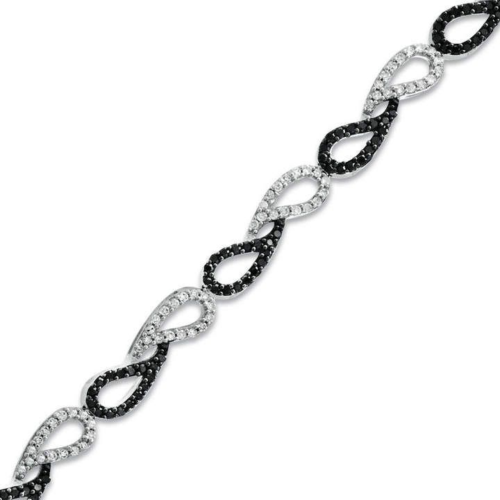 Zales 1/15 CT. T.w. Diamond Heart Link Bracelet in Sterling Silver - 7.5 ewqFvRRl3w