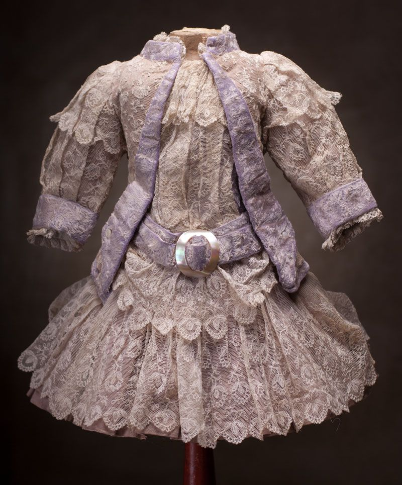 """Antique French Silk satin and lace Dress for doll bebe about 23-24""""(58-61 cm) Antique dolls at Respectfulbear.com"""