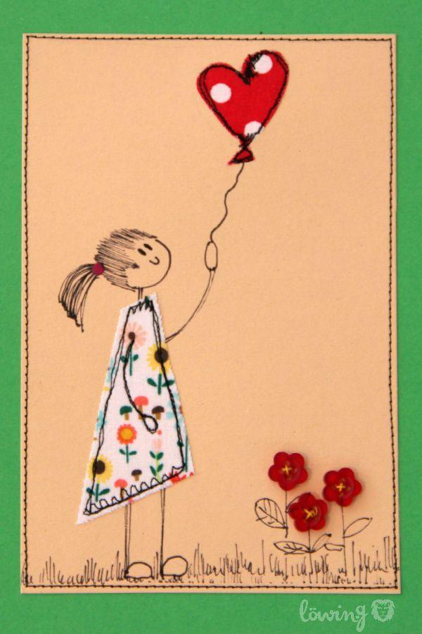 Nahmalen Malen Und Nahen Malen Mit Der Nahmaschine Drawing With The Sewing Machine Stoffkarten Geburtstagskarte Kostenlose Maschinenstickerei