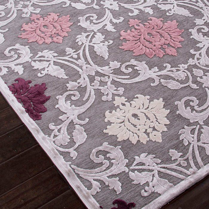One Of A Kind Bowles Machine Woven Chenille Gray Area Rug Purple Area Rugs Rugs Floral Rug