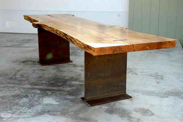 Metal Table Frames Bases Table With Organic Shaped Slab Top Is - Conference table bases metal