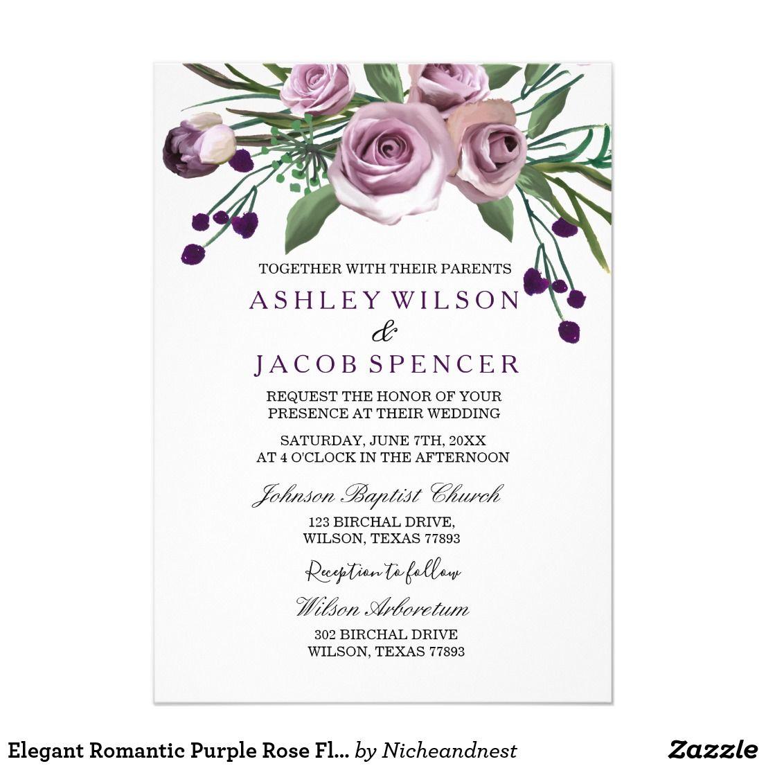 Elegant Romantic Purple Rose Floral Wedding Invite | Zazzle.com | Purple  wedding invitations, Floral wedding invitations, Floral invitation