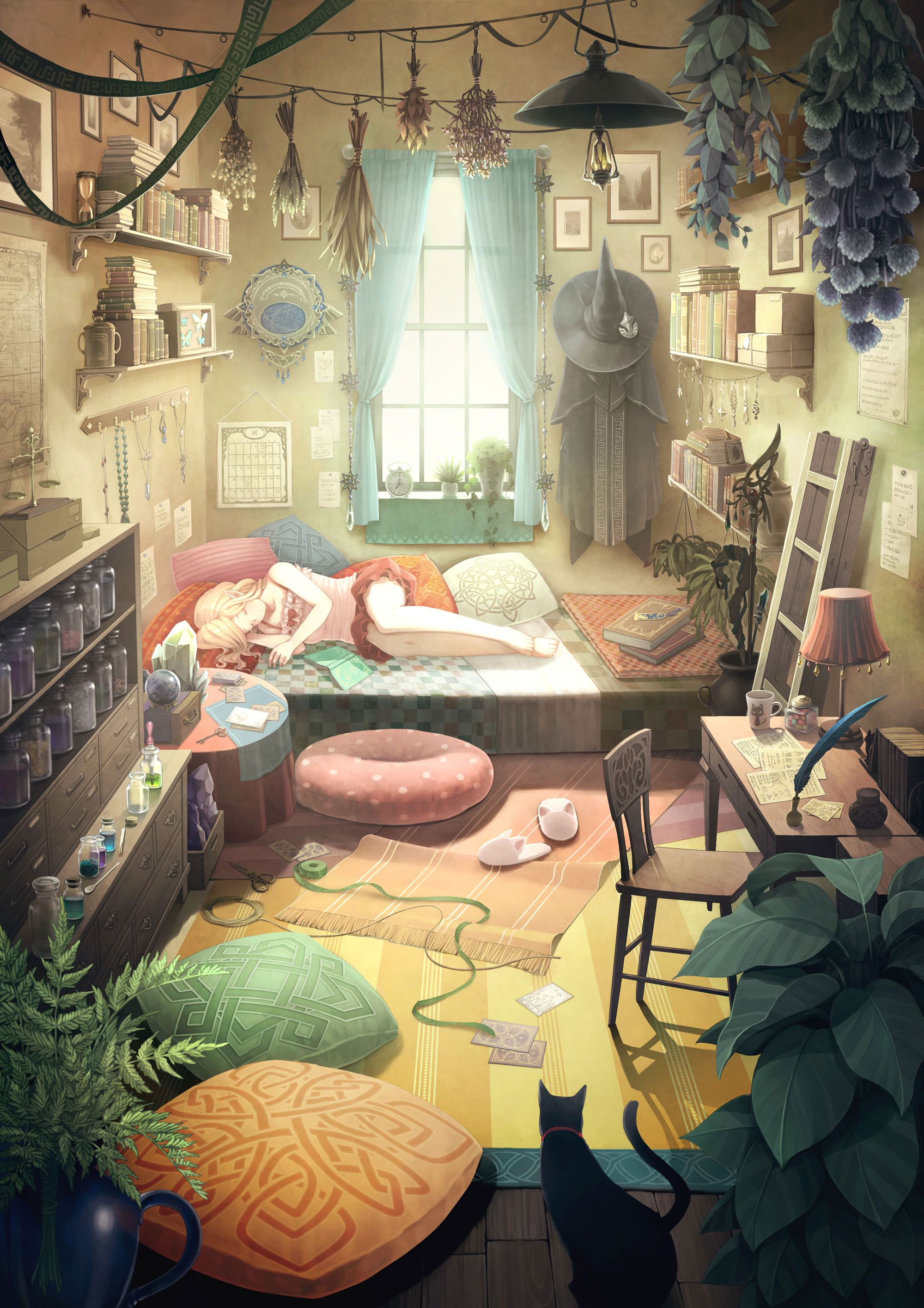 Bedroom Drawing: A Magic Student's Room [Original]