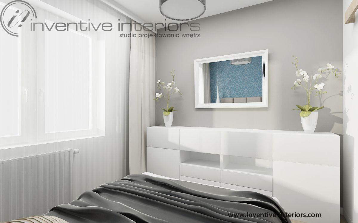 Projekt Sypialni Inventive Interiors Biało Szara Sypialnia