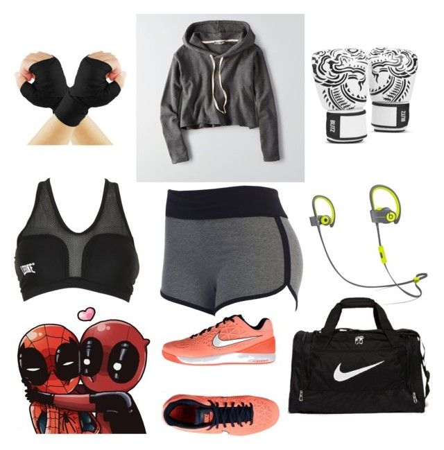 """""""Workout/Boxing"""" by adorably-dangerous ❤ liked on Polyvore featuring American Eagle Outfitters, NIKE, blitz and Leone 1947"""