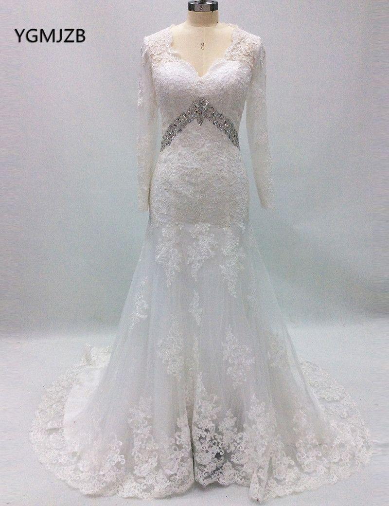 Vestido de noiva vintage lace wedding dress mermaid long
