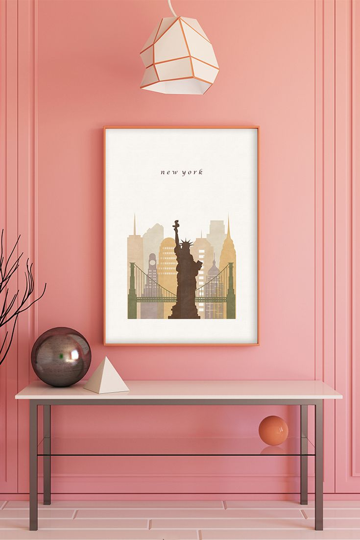 New york new home printable ny map art new york poster digital
