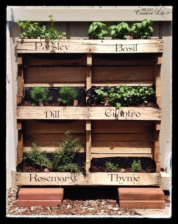 Vertical Pallet Herb Garden Herb garden pallet, Pallets