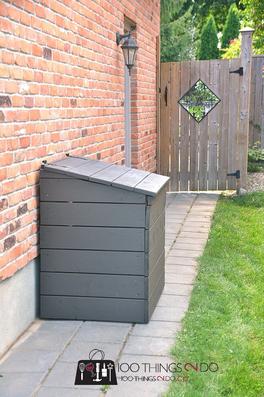 diy outdoor garbage bin simple diy projects trash can storage outdoor garbage shed garbage. Black Bedroom Furniture Sets. Home Design Ideas