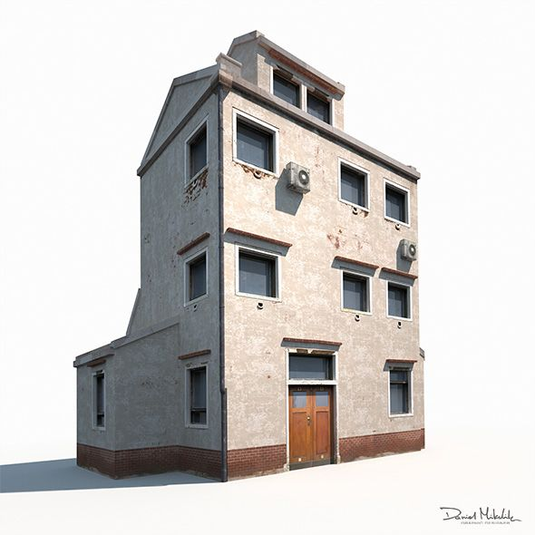 Old Brick Apartment Building: Old Building 186 Low Poly. 3D Model Of A Building