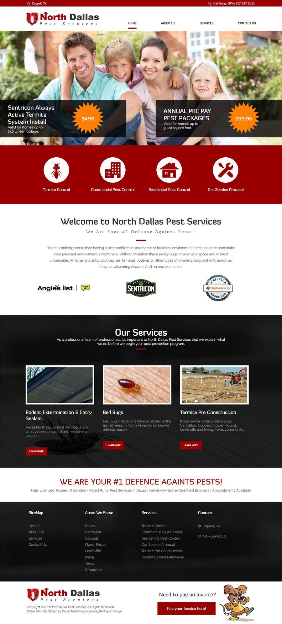 New Web Design For North Dallas Pest Control In Coppell Texas Web Design Web Design Mockup Design Clients