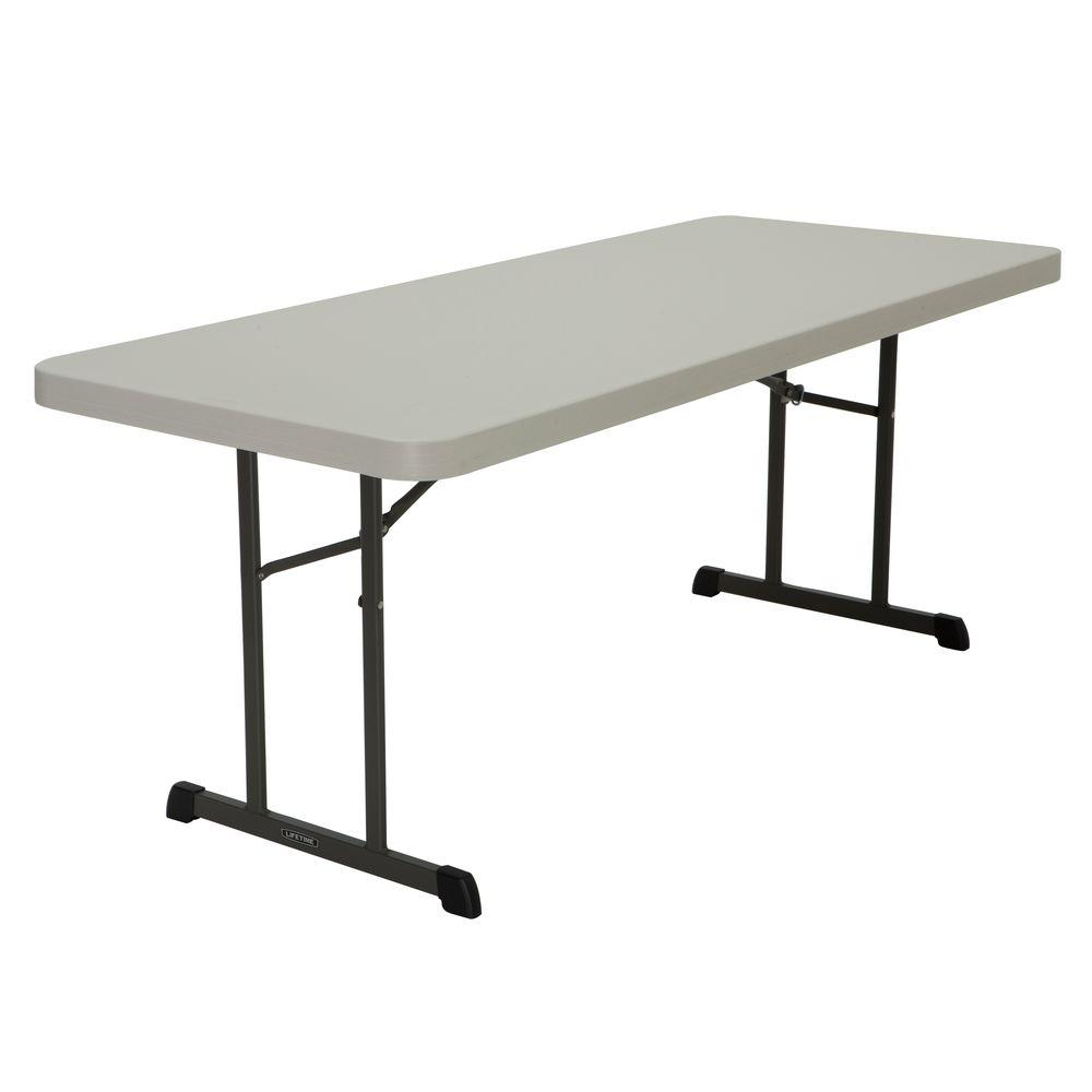 Lifetime 72 In Almond Brown Plastic Folding Banquet Table