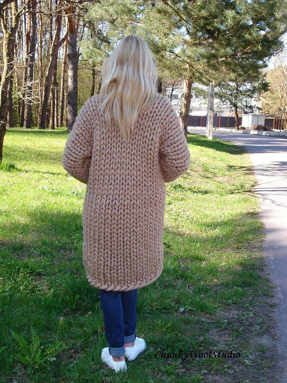 c57f514cb16 Chunky Wool Cardigan Super thick cardigan Arm knit sweater ...