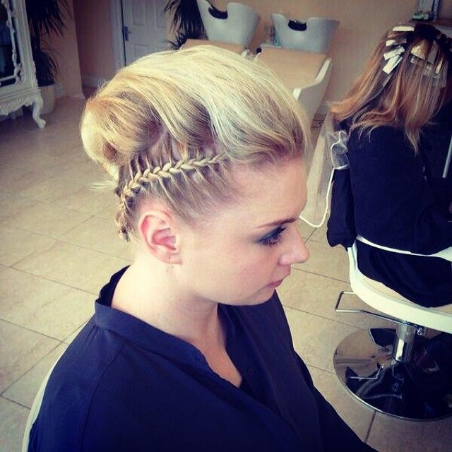 A fresh take on the updo!  - side braid - close braid - blonde - updo