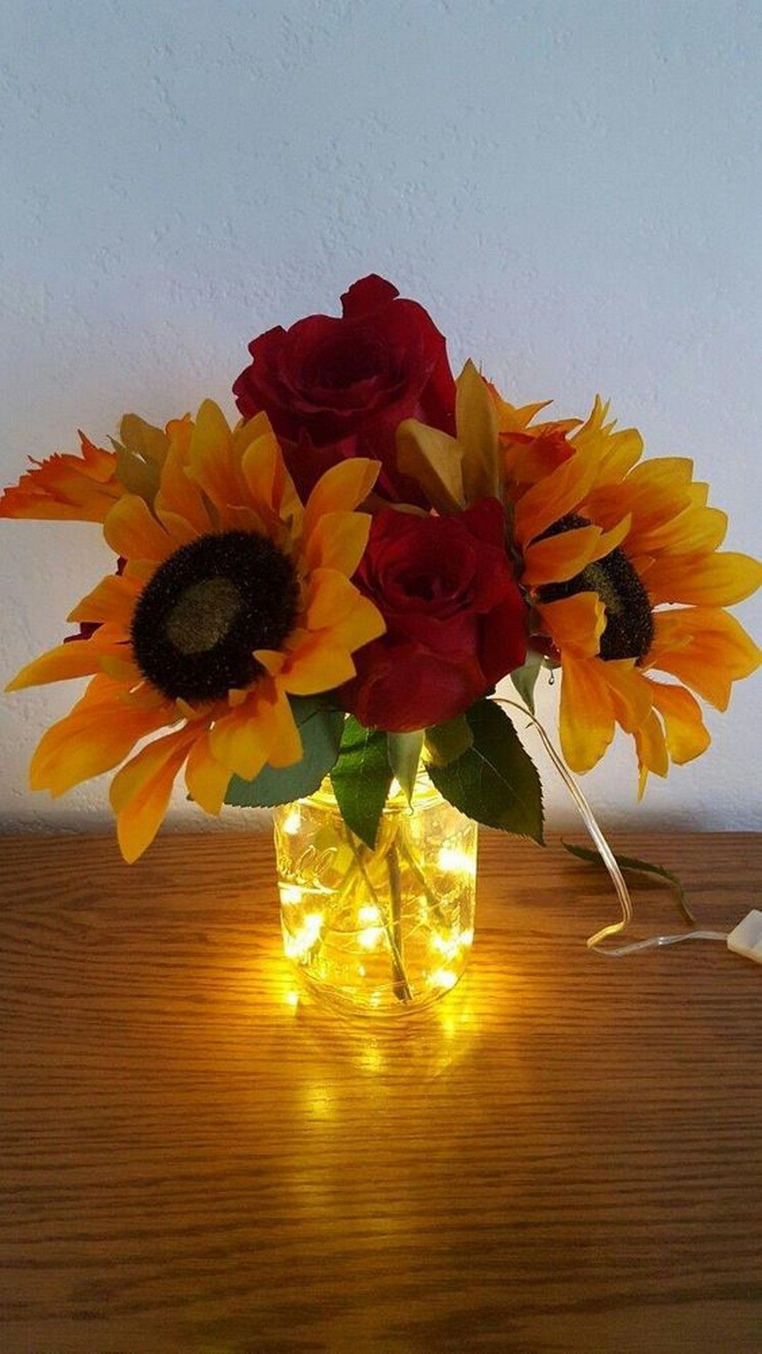 24 Rustic Mason Jar With Led Lights Flowers For Home Decoration Sunflower Wedding Decorations Sunflower Wedding Centerpieces Rustic Wedding Centerpieces