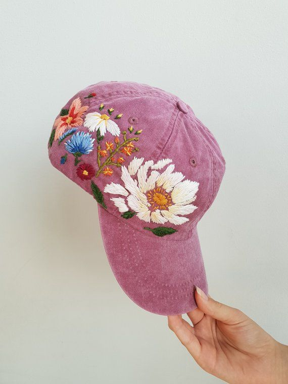 Baseball Hat, Embroidered Hat, Hand Embroidery, Hand