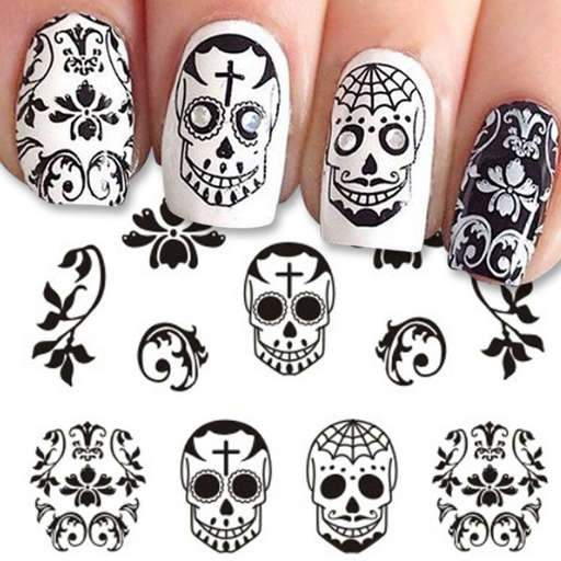 Give Style To Your Nails Using Nail Art Designs Used By Fashionable Stars These Types Of Nail Designs Will Inco Sugar Skull Nails Halloween Nails Skull Nails