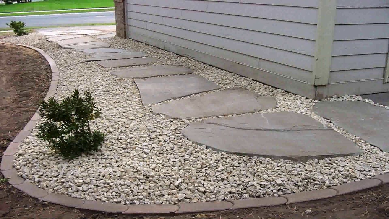 Landscaping Ideas With Rocks And Pavers Youtube Stone Landscaping Landscape Edging White Gravel