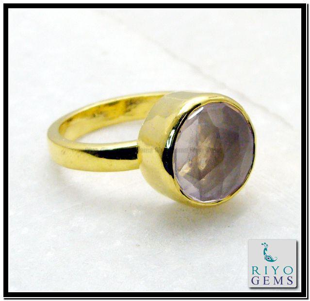 Rose Quartz Gem Stone 18-Kt Gold Platings Mourning Ring Sz 7 Gprroq7-6813 http://www.riyogems.com