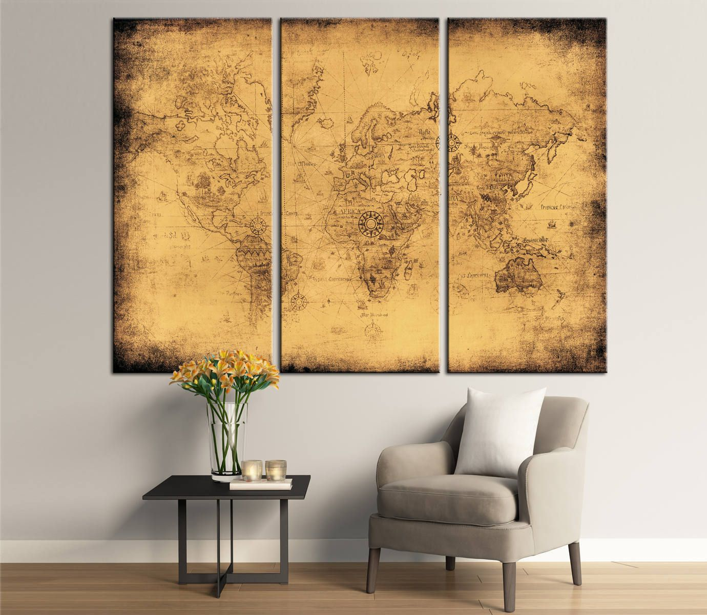 Large Ancient Map of the World. Canvas Panels Set, Ancient World Map ...
