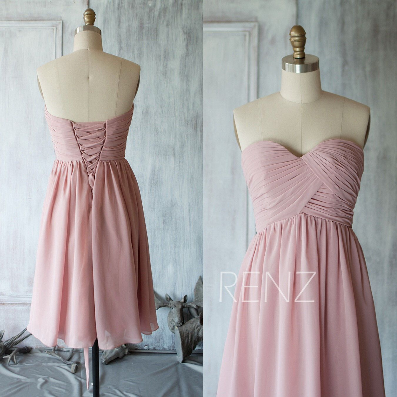 Short Bridesmaid Dress Dusty Rose Sweetheart Short Wedding Dress ...