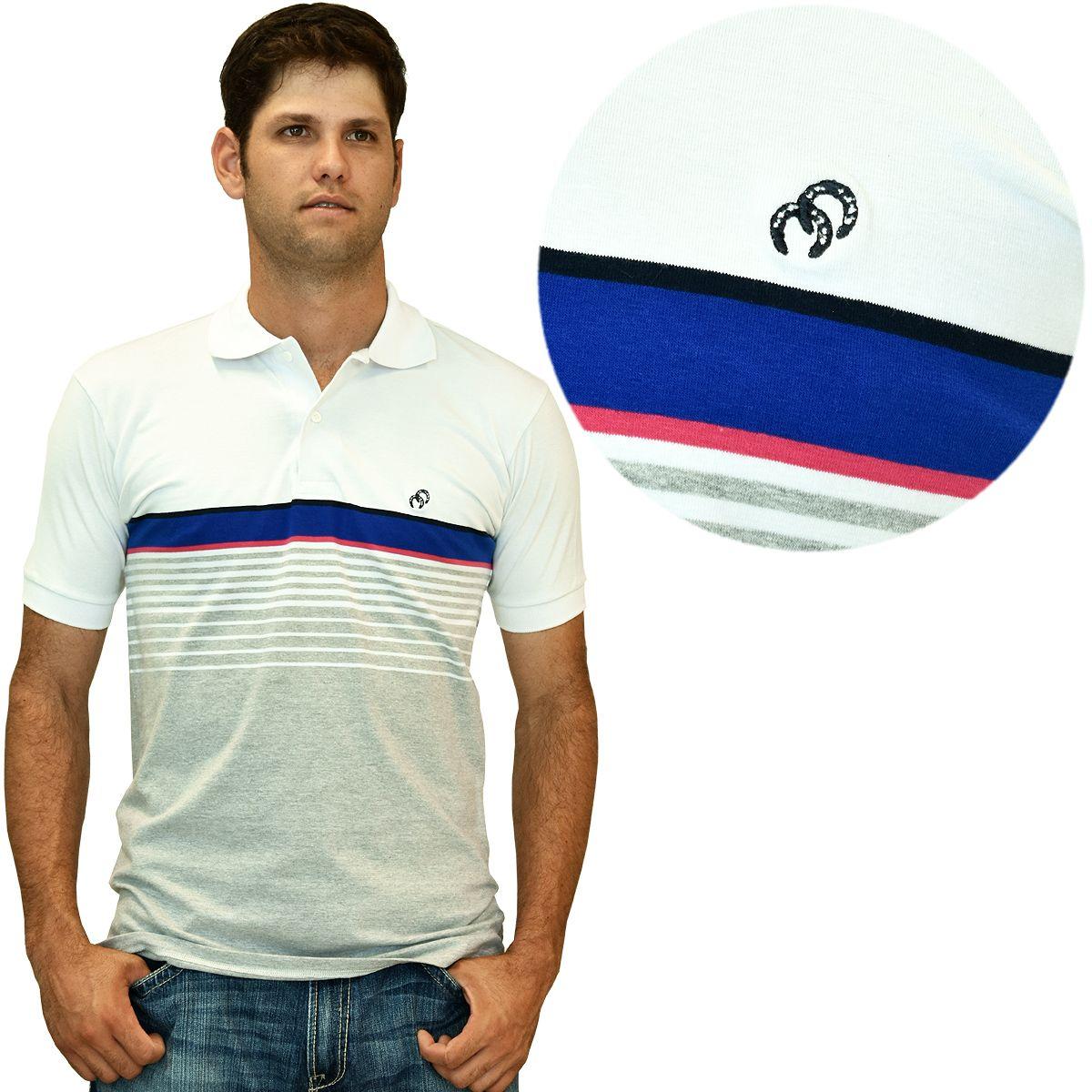 Camiseta Gola Pólo Masculina Cowboys Listrada Cinza E Branca Faixa Azul  Camiseta masculina gola pólo com 9733f98bc10e0