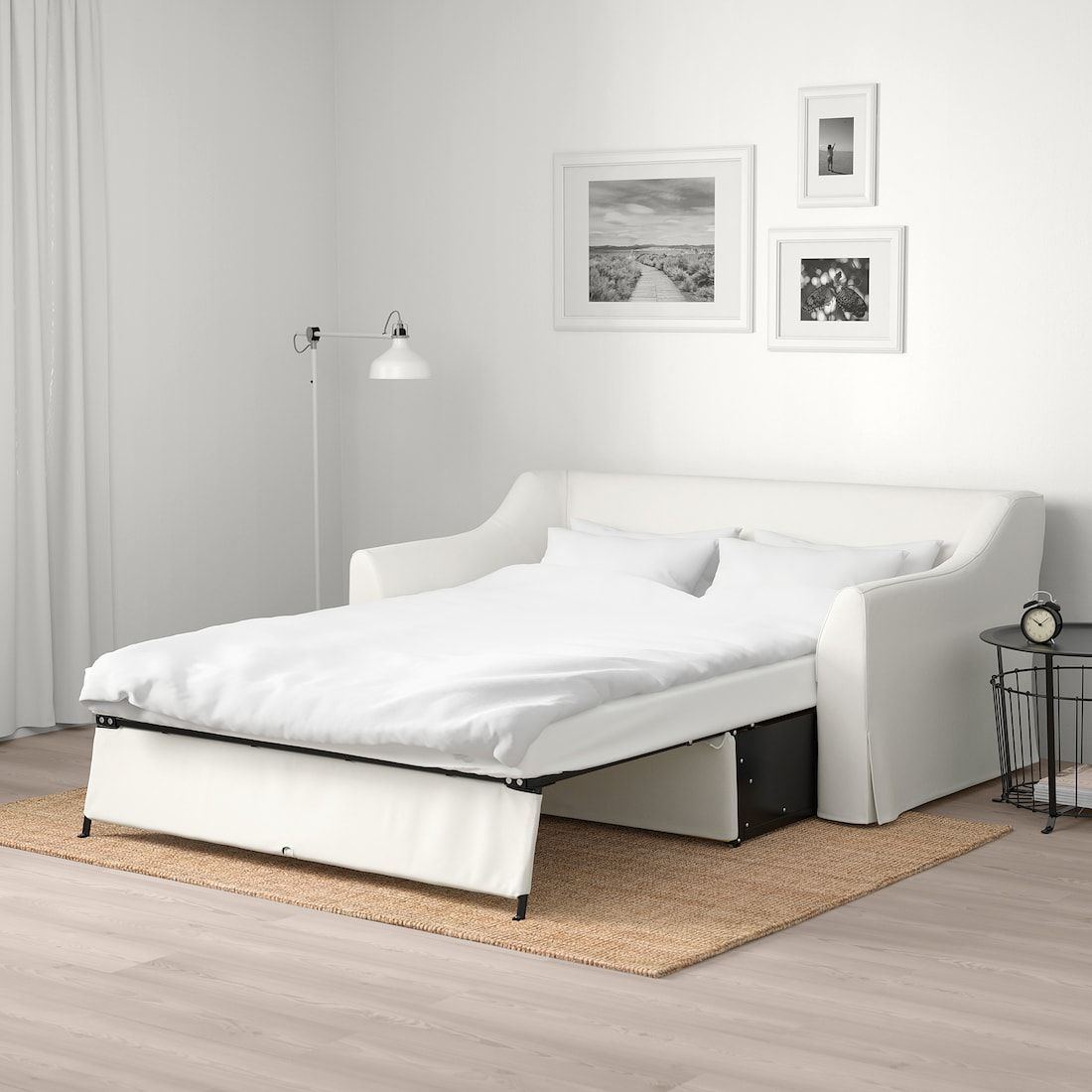 Farlov Sleeper Sofa Flodafors White In 2020 Sleeper Sofa Sofa Frame Ikea